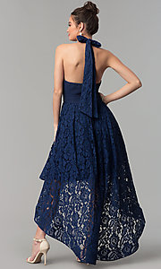 Image of high-low navy blue lace prom dress with v-neck halter. Style: LP-24966N Back Image