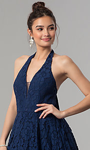 Image of high-low navy blue lace prom dress with v-neck halter. Style: LP-24966N Detail Image 1