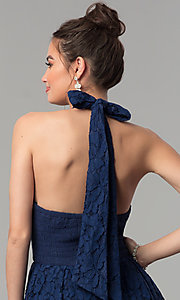 Image of high-low navy blue lace prom dress with v-neck halter. Style: LP-24966N Detail Image 2
