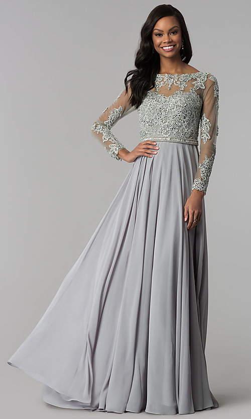 Image of embellished-bodice long-sleeved formal prom dress. Style: CD-GL-G762 Front Image