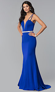 Image of long v-neck prom dress with beaded waist. Style: CD-GL-G782 Front Image