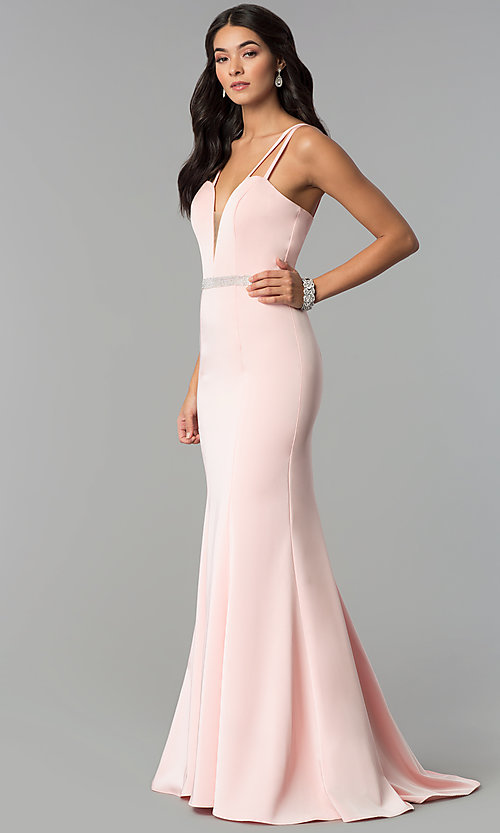 Image of long v-neck prom dress with beaded waist. Style: CD-GL-G782 Detail Image 1