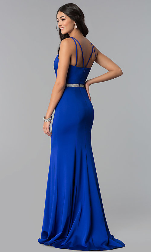 Image of long v-neck prom dress with beaded waist. Style: CD-GL-G782 Back Image