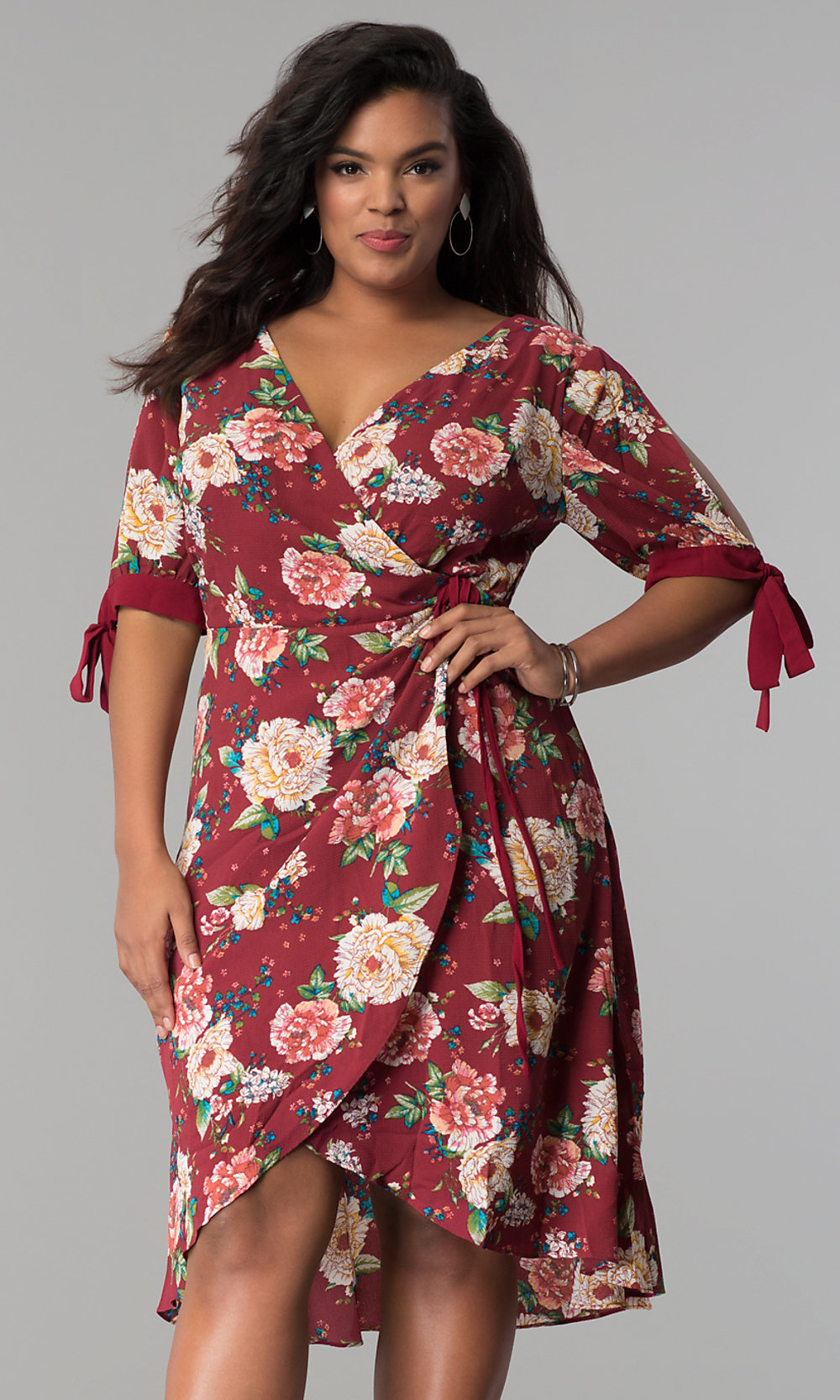 Short Plus-Size Print Wrap Dress - PromGirl