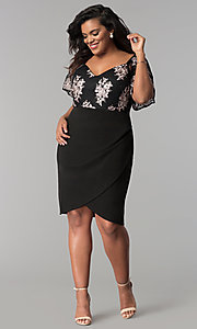 Image of short faux-wrap plus-size party dress with lace bodice. Style: SOI-PS17299 Detail Image 1