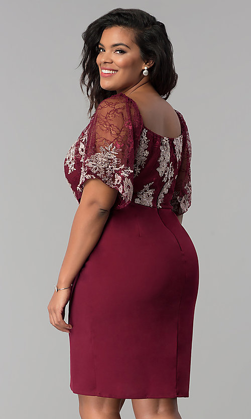 Image of short faux-wrap plus-size party dress with lace bodice. Style: SOI-PS17299 Back Image