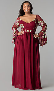 Image of sleeved embroidered-bodice long plus-size prom dress. Style: SOI-PM17166A84 Front Image