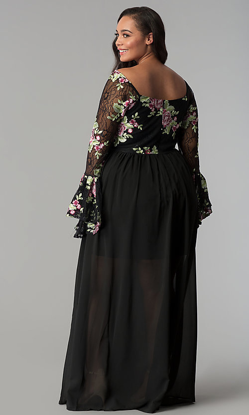 Image of sleeved embroidered-bodice long plus-size prom dress. Style: SOI-PM17166A84 Back Image