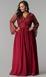 Image of long plus-size prom dress with lace bodice. Style: SOI-PM17298 Detail Image 3