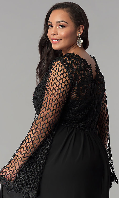 Image of long plus-size prom dress with lace bodice. Style: SOI-PM17298 Detail Image 2