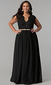 Image of cap-sleeved lace-bodice long plus-size prom dress. Style: SOI-PM17296 Front Image