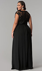 Image of cap-sleeved lace-bodice long plus-size prom dress. Style: SOI-PM17296 Back Image
