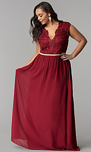 Image of cap-sleeved lace-bodice long plus-size prom dress. Style: SOI-PM17296 Detail Image 3