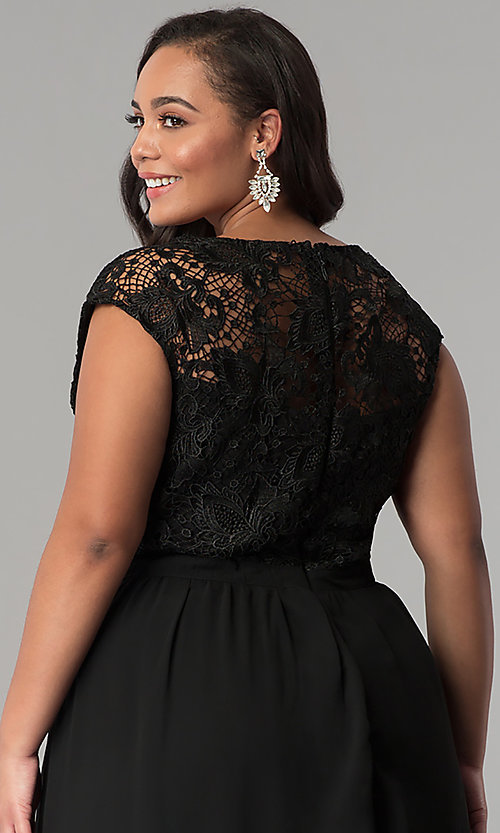 Image of cap-sleeved lace-bodice long plus-size prom dress. Style: SOI-PM17296 Detail Image 2