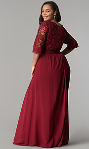 Image of sleeved lace-bodice plus-size wine red prom dress. Style: SOI-PM17360 Back Image