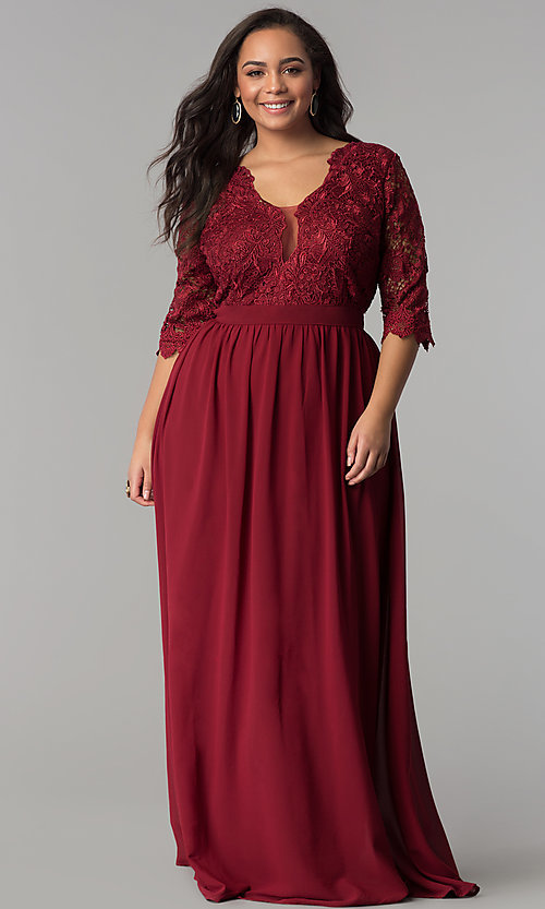 Image of sleeved lace-bodice plus-size wine red prom dress. Style: SOI-PM17360 Front Image
