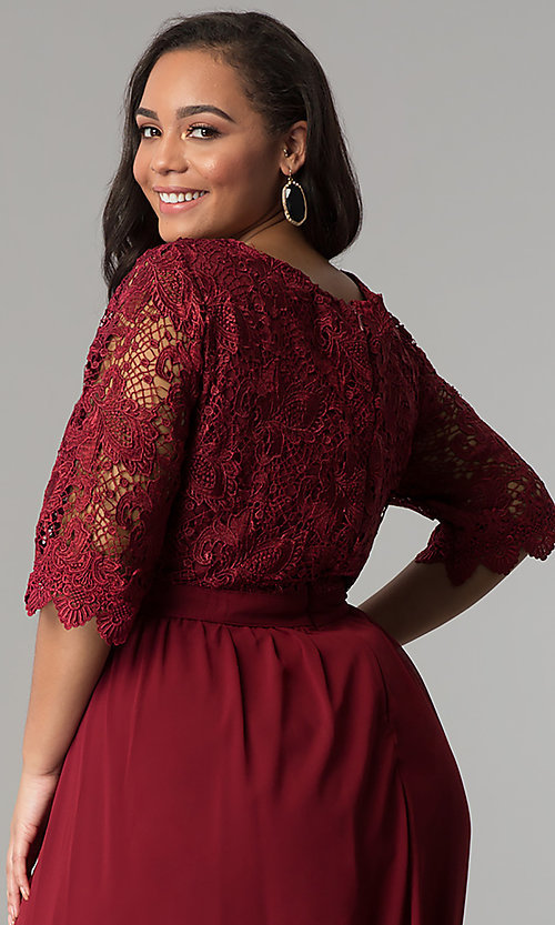 Image of sleeved lace-bodice plus-size wine red prom dress. Style: SOI-PM17360 Detail Image 2
