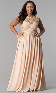Long Chiffon Lace Bodice Plus-Size Prom Dress