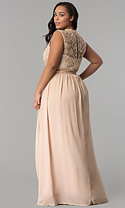 Image of chiffon lace-bodice plus-size prom dress in Taupe. Style: SOI-PD16613 Back Image