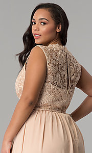 Image of chiffon lace-bodice plus-size prom dress in Taupe. Style: SOI-PD16613 Detail Image 2