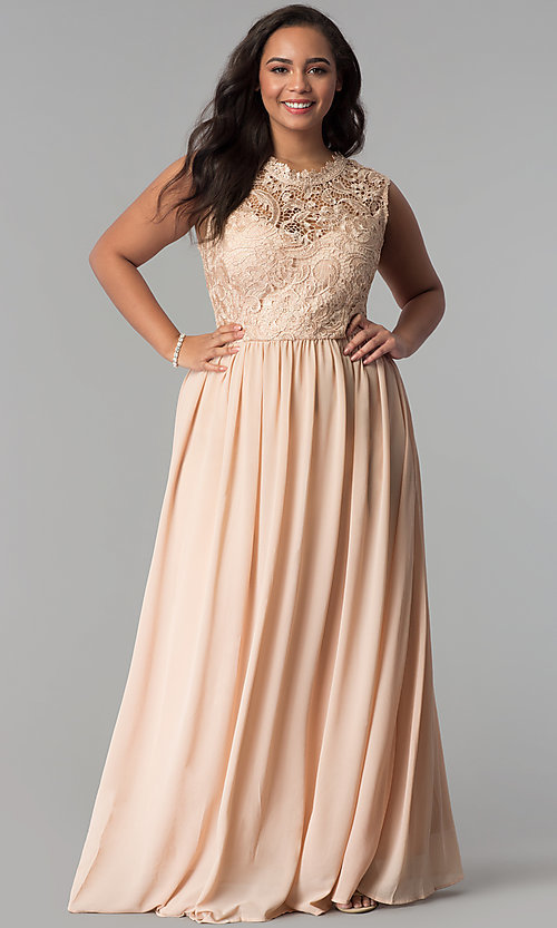 Image of chiffon lace-bodice plus-size prom dress in Taupe. Style: SOI-PD16613 Front Image