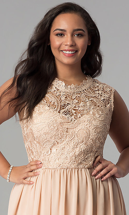 Image of chiffon lace-bodice plus-size prom dress in Taupe. Style: SOI-PD16613 Detail Image 1
