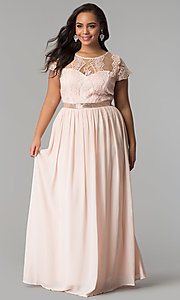 Image of lace-bodice plus-size prom dress with short sleeves. Style: SOI-PD16266 Front Image