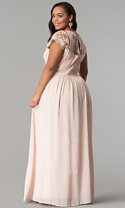 Image of lace-bodice plus-size prom dress with short sleeves. Style: SOI-PD16266 Back Image