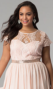 Image of lace-bodice plus-size prom dress with short sleeves. Style: SOI-PD16266 Detail Image 1