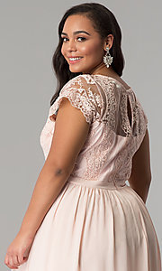 Image of lace-bodice plus-size prom dress with short sleeves. Style: SOI-PD16266 Detail Image 2