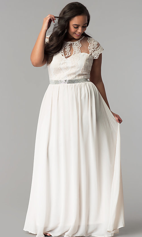 Sleeved Plus-Size Lace-Bodice Prom Dress - PromGirl