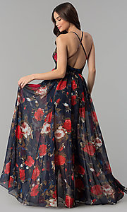Image of long v-neck navy floral-print prom dress Style: LUX-LD4229 Back Image