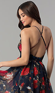 Image of long v-neck navy floral-print prom dress Style: LUX-LD4229 Detail Image 2
