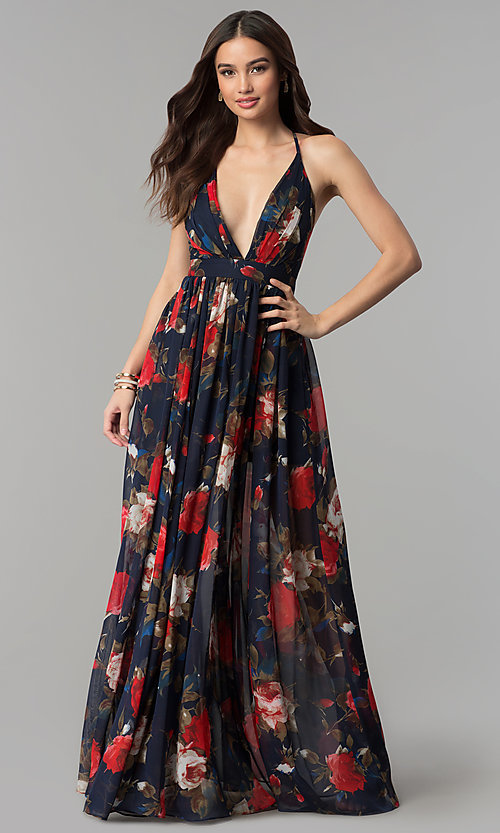 Image of long v-neck navy floral-print prom dress Style: LUX-LD4229 Front Image
