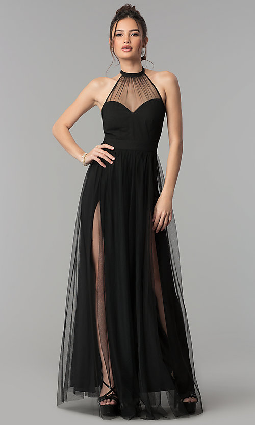 Image of illusion-sweetheart high-neck halter long prom dress. Style: LUX-LD4211 Detail Image 1
