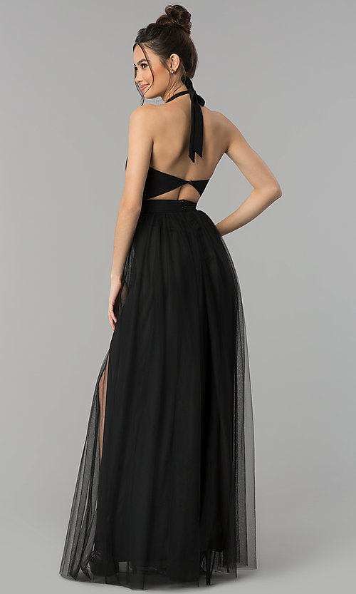 Image of illusion-sweetheart high-neck halter long prom dress. Style: LUX-LD4211 Back Image