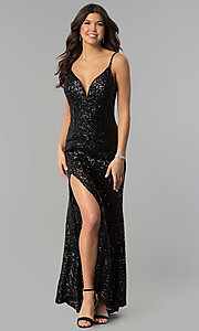 Image of long sequin prom dress with decolletage v-neck. Style: LUX-LD3708 Front Image