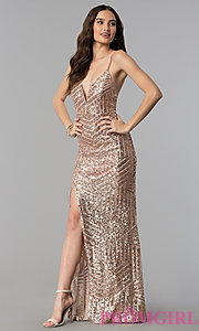 Image of long sequin prom dress with decolletage v-neck. Style: LUX-LD3708 Detail Image 2
