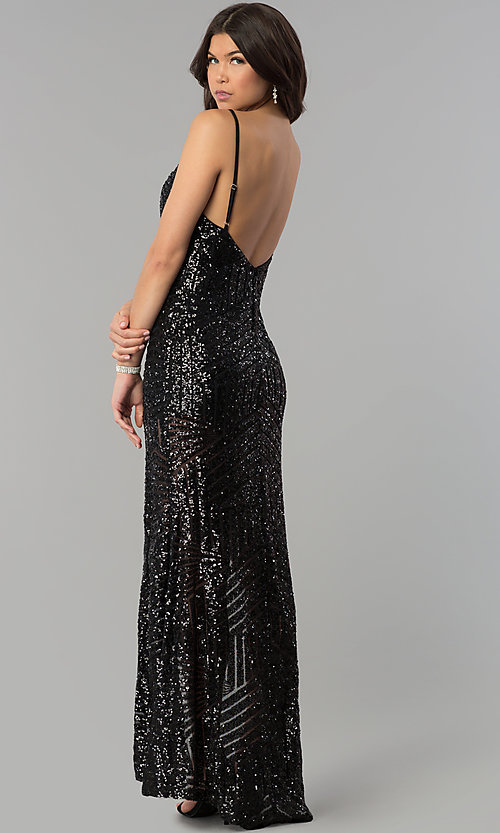 Image of long sequin prom dress with decolletage v-neck. Style: LUX-LD3708 Back Image