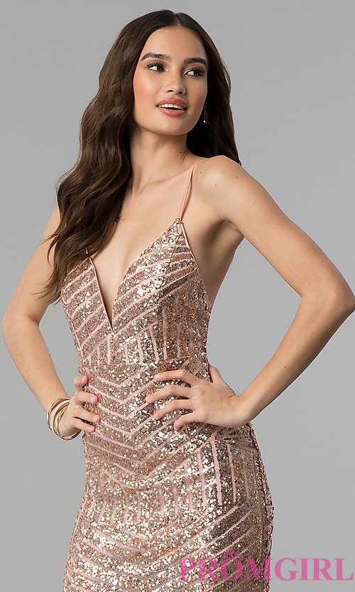 Image of long sequin prom dress with decolletage v-neck. Style: LUX-LD3708 Detail Image 3