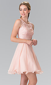 Image of embroidered-illusion Elizabeth K short prom dress. Style: FB-GS2314-v Detail Image 2