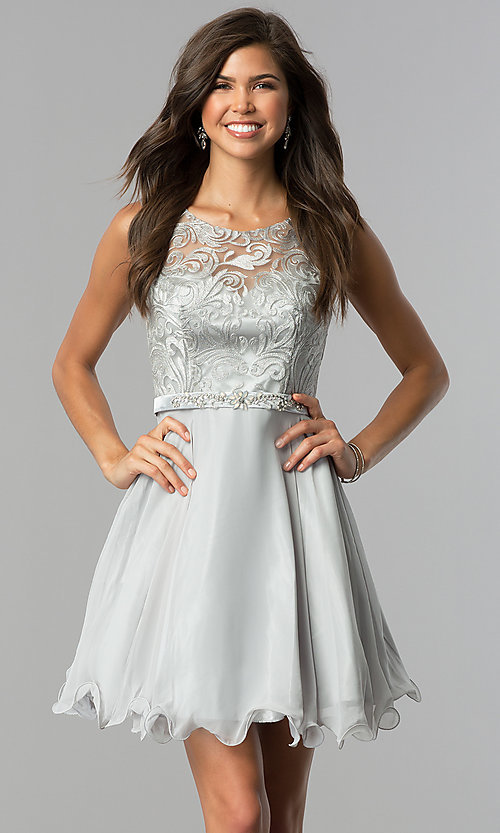 Image of embroidered-illusion Elizabeth K short prom dress. Style: FB-GS2314-v Detail Image 1