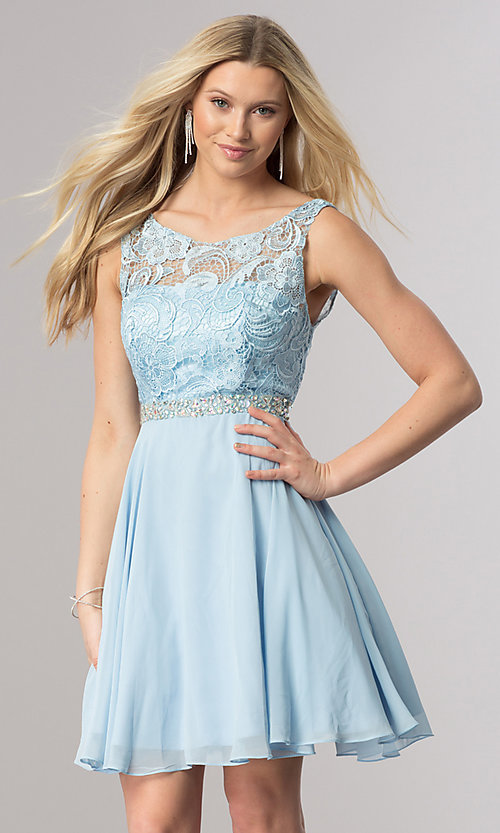 24f4ead044df Image of short blue chiffon semi-formal party dress with lace. Style: DQ