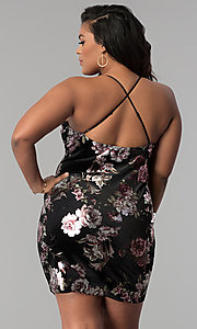Image of short velvet plus-size party dress with floral print. Style: KIM-D2314B Back Image