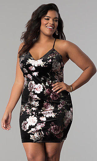 Short Velvet Plus-Size Party Dress with Floral Print