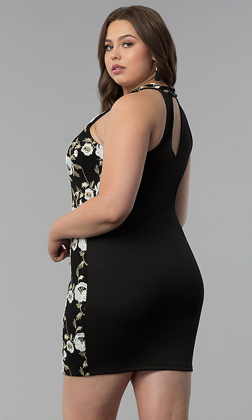 Image of high-neck short plus-size embroidered party dress. Style: KIM-D22900B Back Image