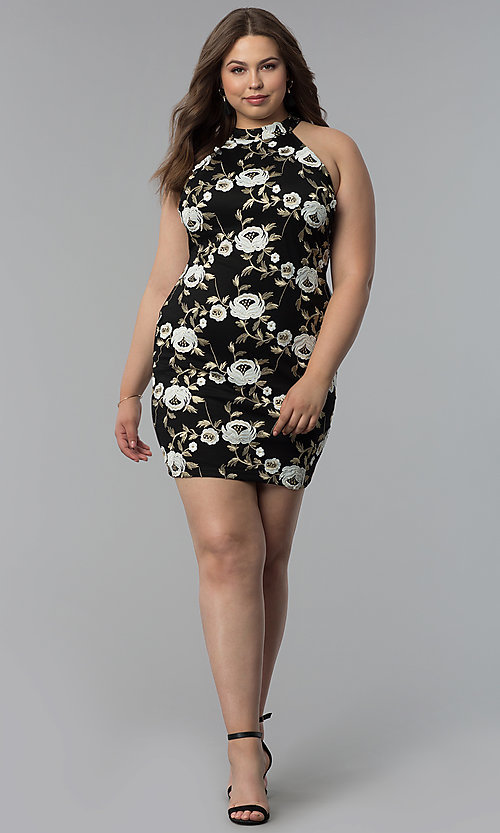 Image of high-neck short plus-size embroidered party dress. Style: KIM-D22900B Detail Image 2