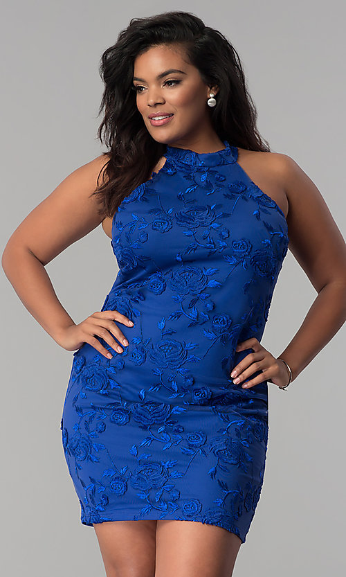 Image of high-neck short plus-size embroidered party dress. Style: KIM-D22900B Detail Image 3