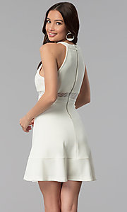 Image of beaded-collar empire-waist short graduation dress. Style: EM-ETX-1027-120 Back Image