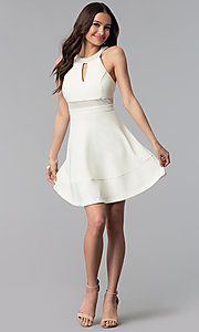 Image of beaded-collar empire-waist short graduation dress. Style: EM-ETX-1027-120 Detail Image 3